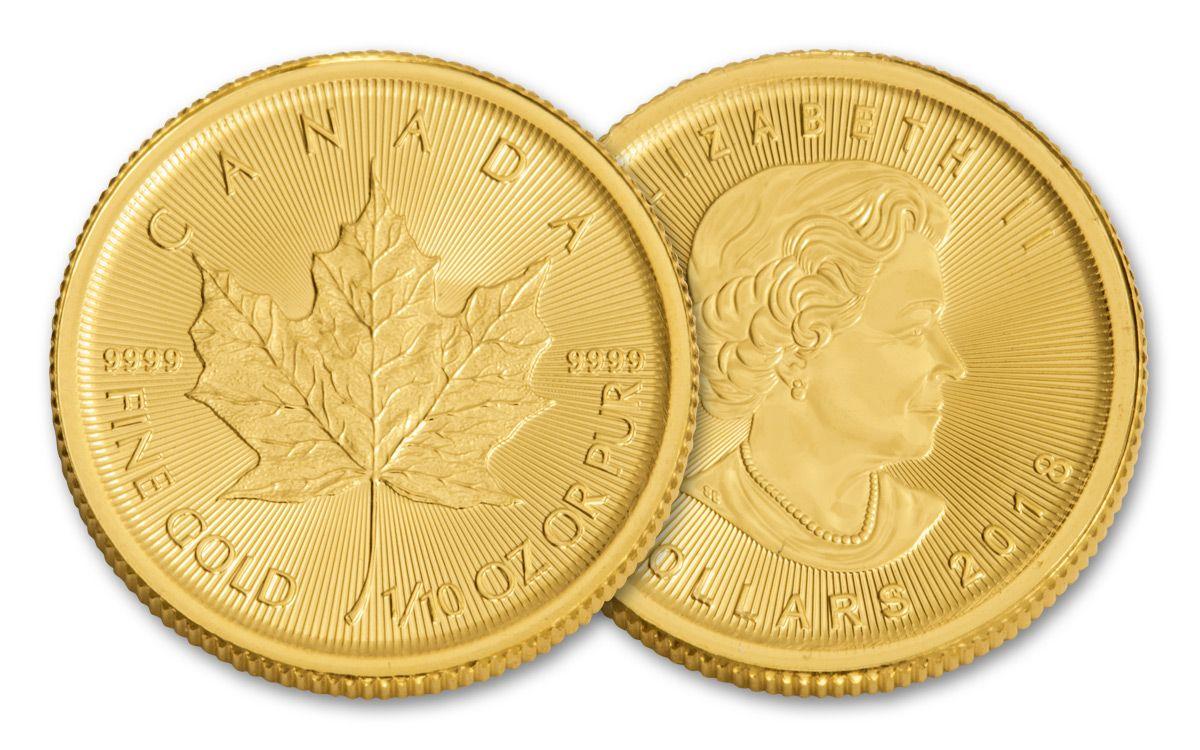 2018 Canada Gold Maple Leaf 1//10 oz $5 BU