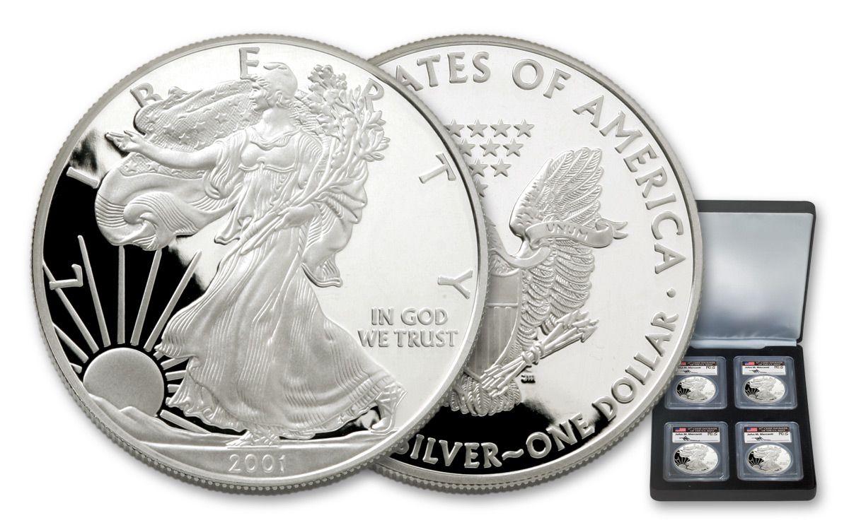 2001-W PCGS PR69DCAM Silver Eagle Dollar Bald Eagle Label