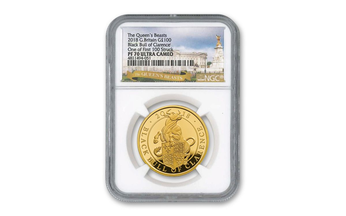 UK 2018 Queen's Beast Great Britain The Black Bull 1oz Gold Proof Coin NGC PF 70