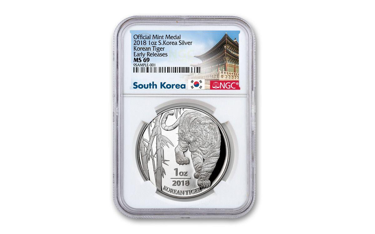 2018 South Korean Tiger 1 oz .999 Silver BU Siberian Tiger inaugural release NEW