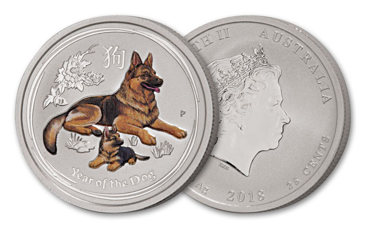 2018 1//2 oz Australia Silver Colorized Year of the Dog