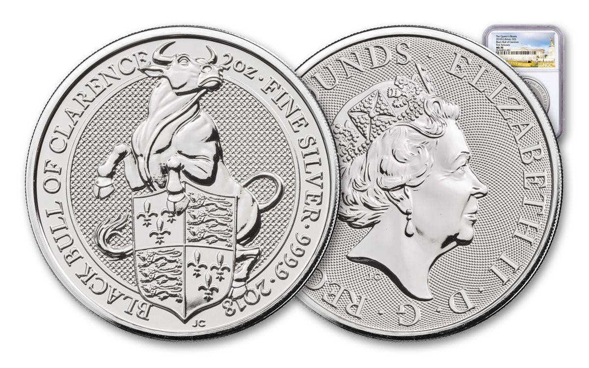 2018 2 Oz Silver £5 QUEEN/'S BEAST BLACK BULL Coin.