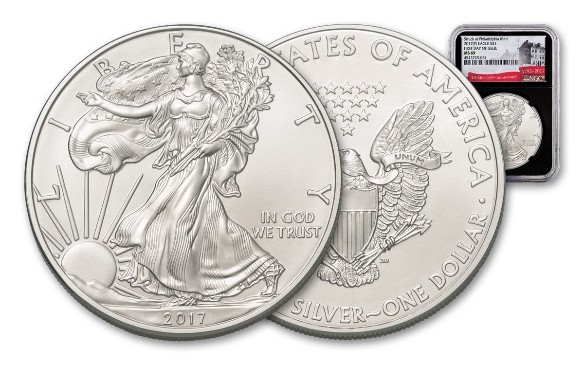 2017- NGC MS69 American Silver Eagle First Day Issue 225th Label Black P