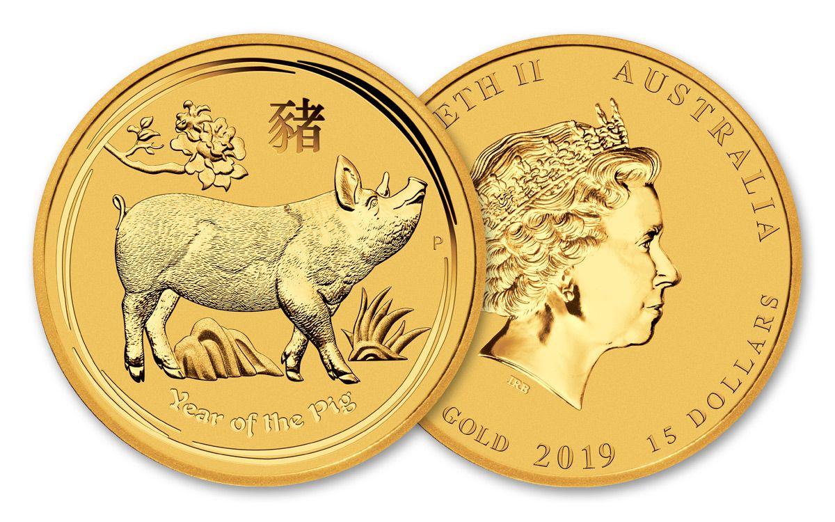 2019 Australian Lunar Year of the Pig 1//10 oz Gold Proof $15 Coin Australia