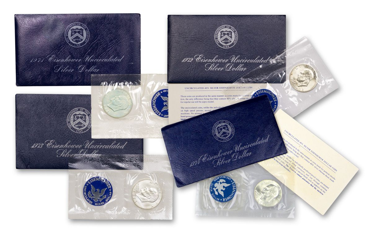 1974-S Dwight Ike Eisenhower Uncirculated 40/% Silver Dollar US Mint Blue Pack