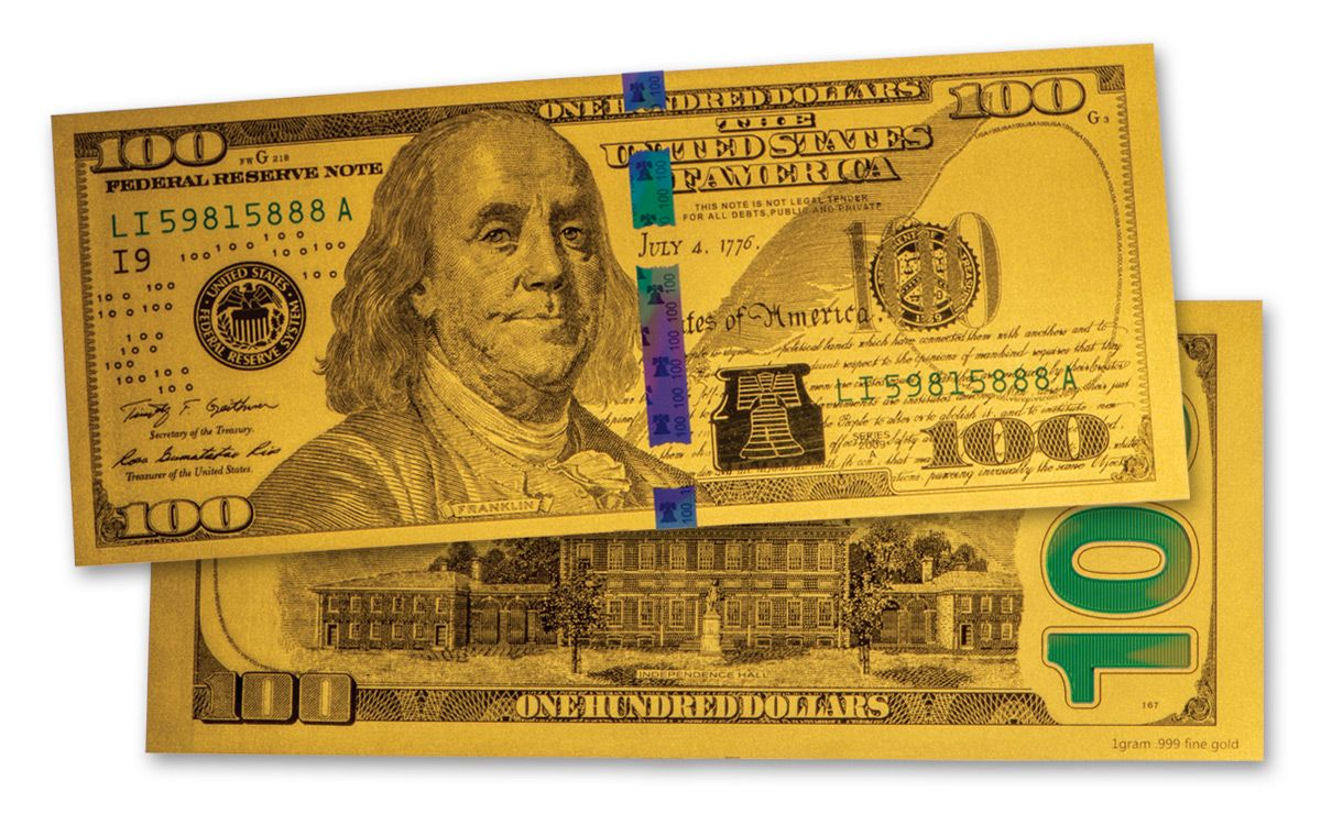 Total 4 US $1-$2-$5-$10 Banknotes USD 24k Gold Foil Paper Money Dollars Four