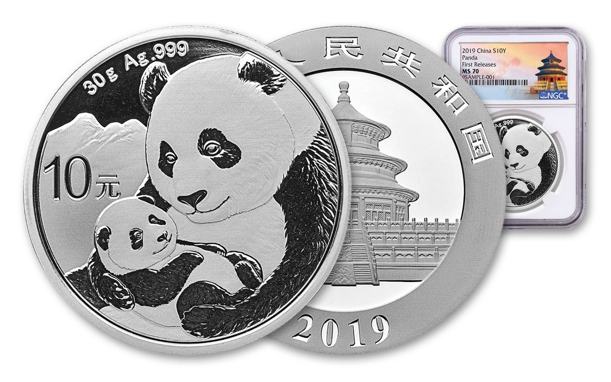 2019 China 10 Yuan Silver Panda NGC MS70 Early Releases Flag Label
