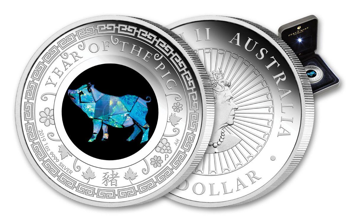 Roll of 5-2019 2 oz Silver Lunar Year of The Pig BU Australian Perth Mint In