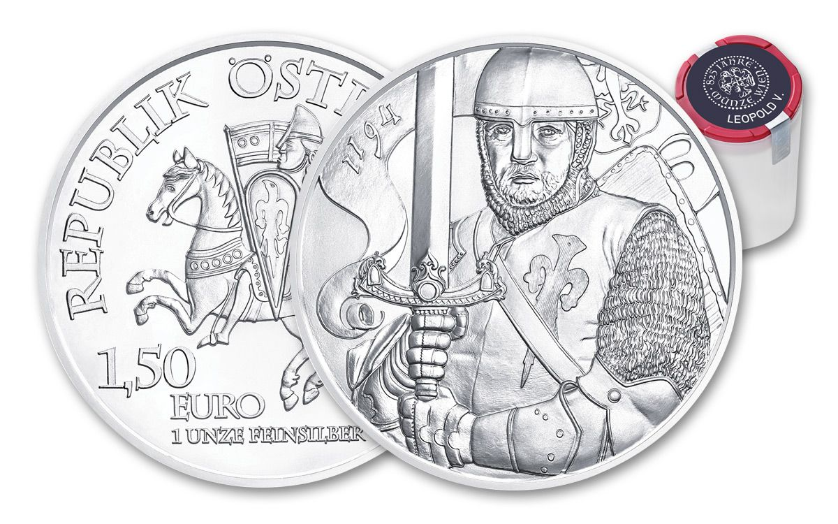 Lot of 2-2019 1 oz Austrian Silver Leopold V Coin BU 825th Anniversary of