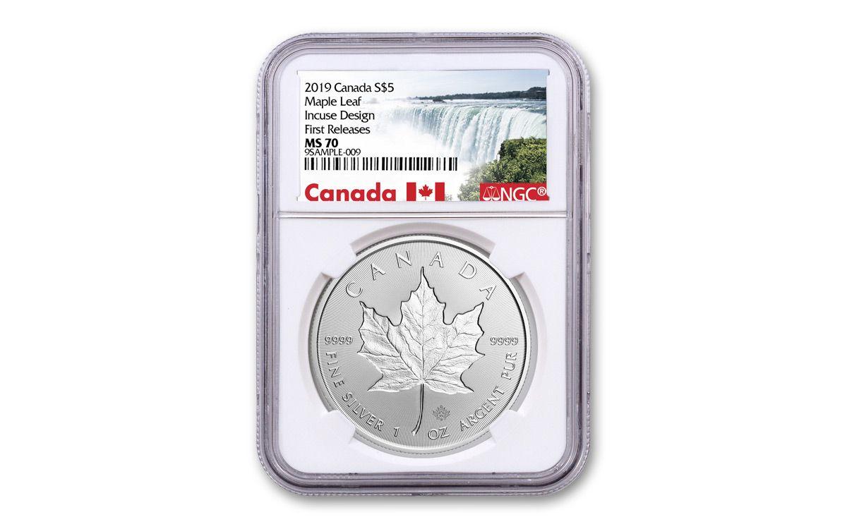 $5 1 oz BU 2019 Canada Silver Maple Leaf Incuse