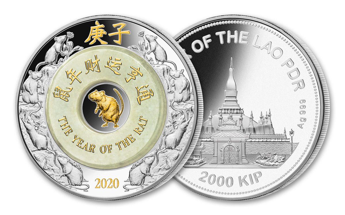 Tende Coin 2020.2020 Laos 2 000 Kip 2 Oz Silver Lunar Rat With Jade Proof Govmint Com