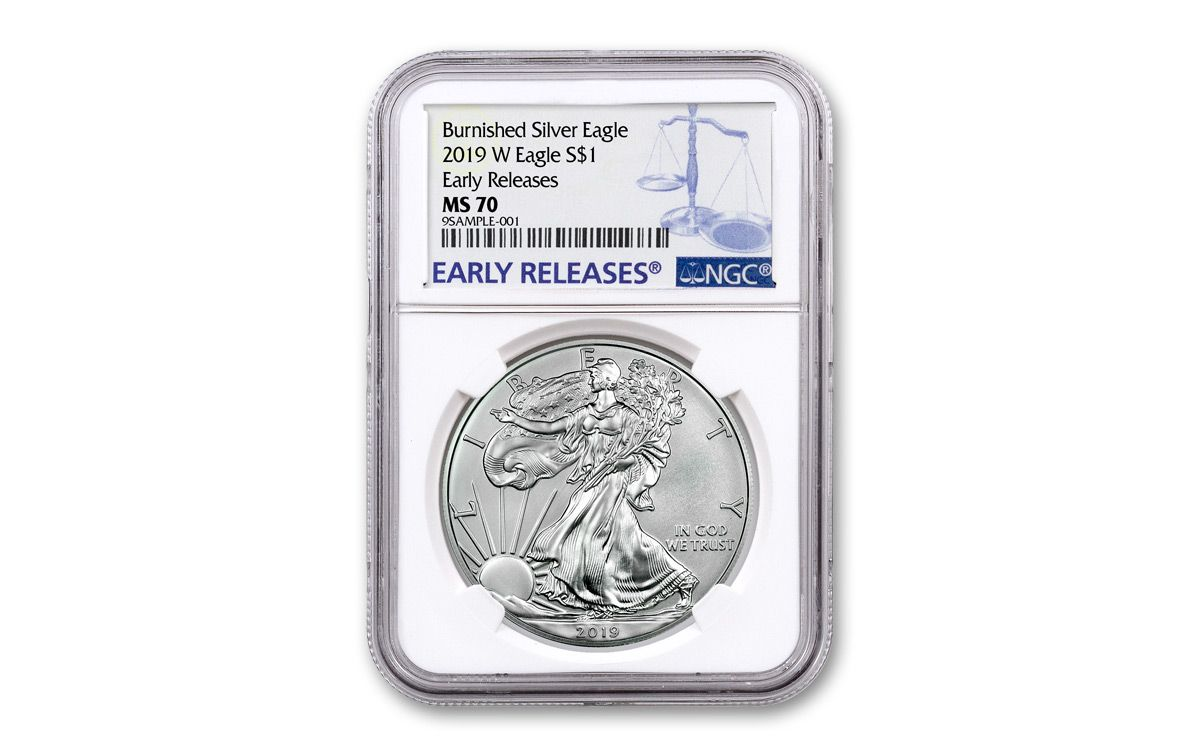 2019-W Burnished $1 American Silver Eagle NGC MS70 Flag Label Early Release