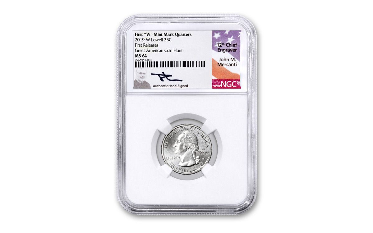 2019 W 25c Lowell Quarter NGC MS64 Great American Coin Hunt