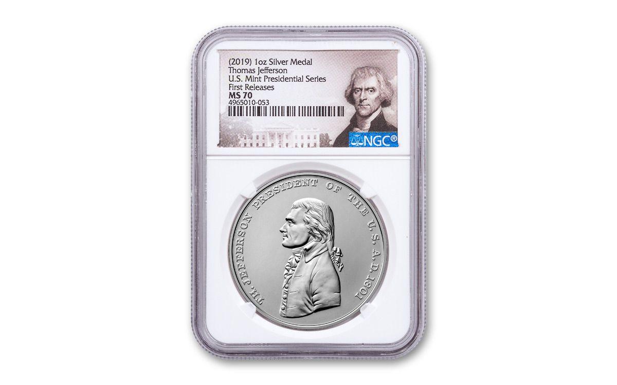 2019 Silver Thomas Jefferson Presidential Series NGC MS70
