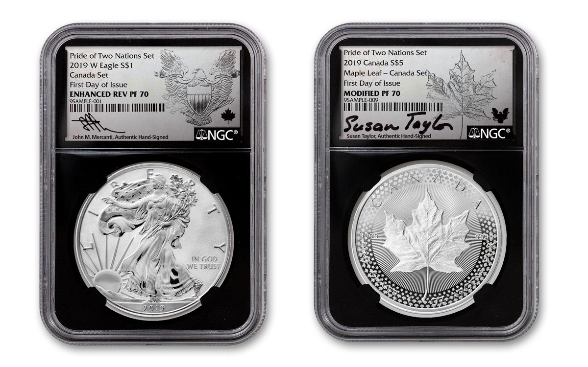 2019 PRIDE OF TWO NATIONS EAGLE AND MAPLE LEAF TWO COIN SET PURE SILVER COINS