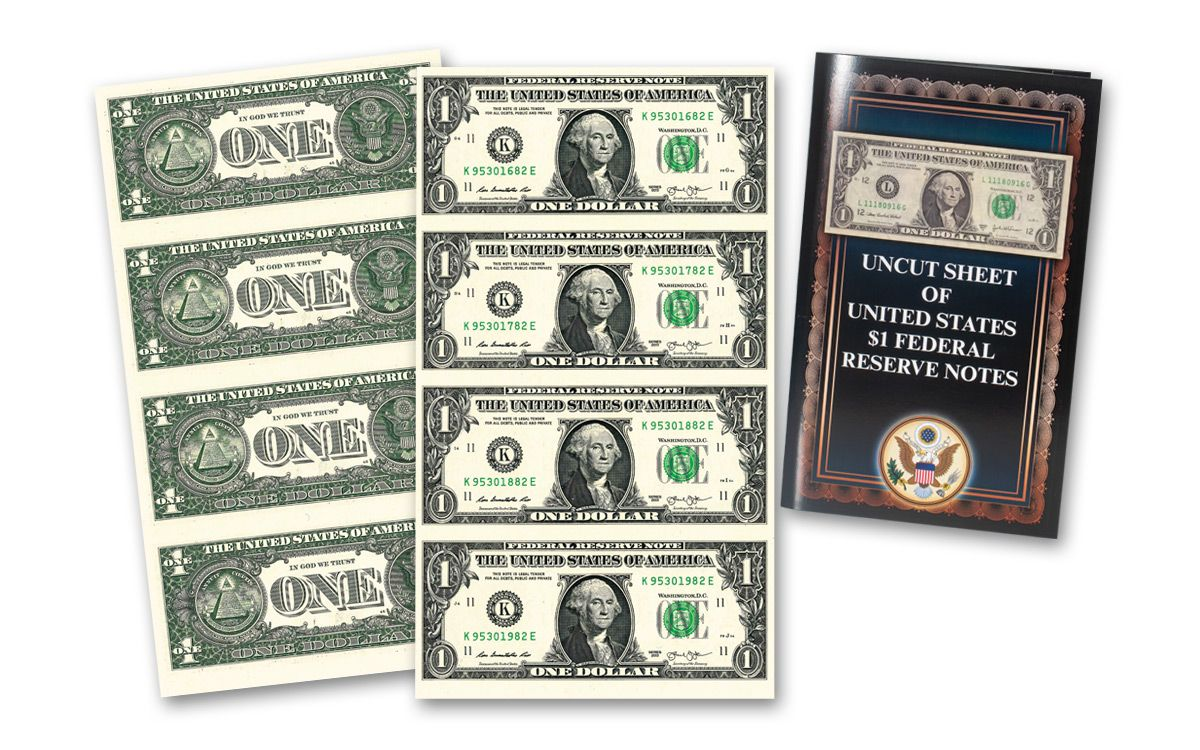 4 $1 BILLS The US Commemorative Gallery STATE OF WASHINGTON UNCUT SHEET OF