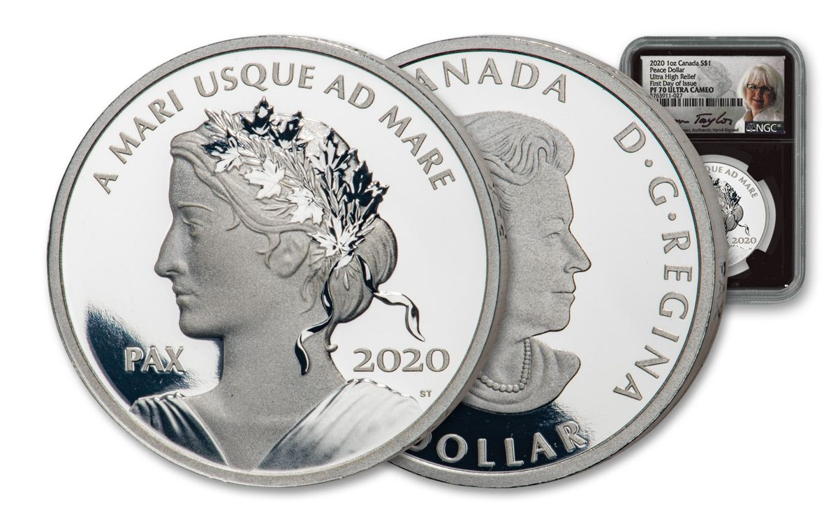 Tende Coin 2020.2020 Canada 1 1 Oz Silver Peace Dollar Ngc Pf70uc Fdi W Black Core Taylor Signature Govmint Com