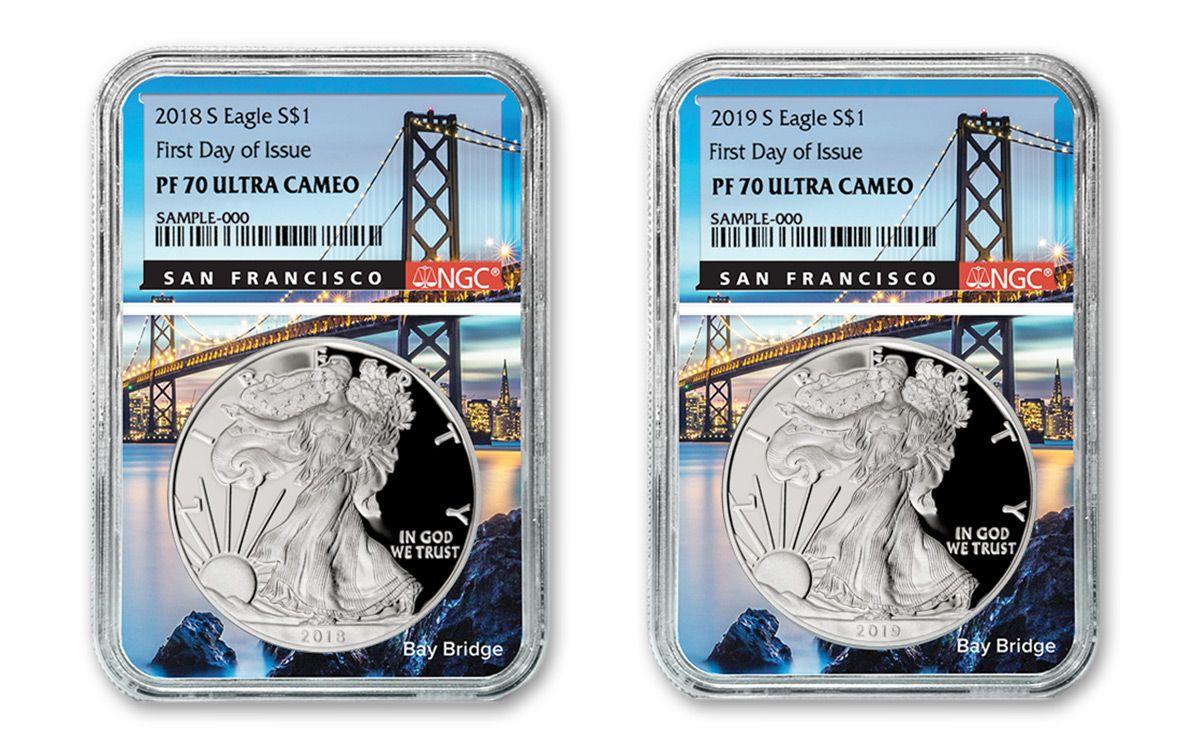 2019-S Proof $1 American Silver Eagle NGC PF70UC FDI Flag Label Blue Core