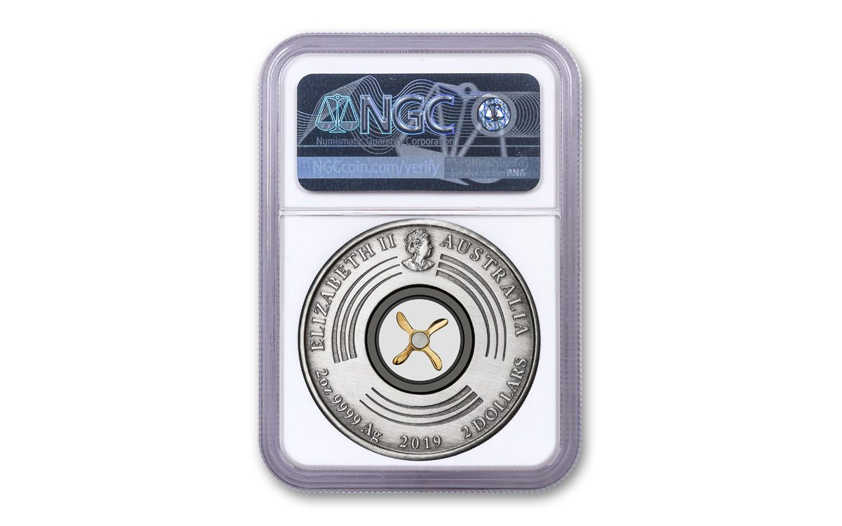 2019 Anniv England To Australia 2oz Silver Anitqued Coin Of The First Flight