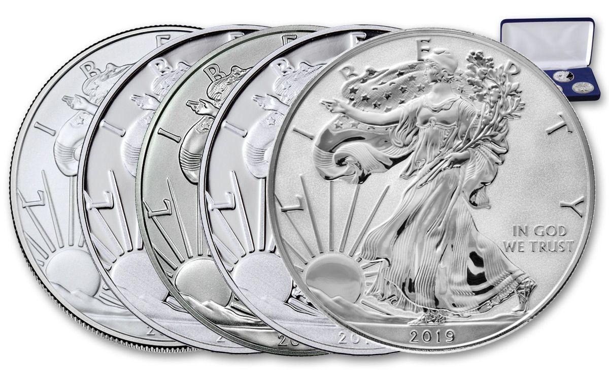 5 2019 $1 American Silver Eagles
