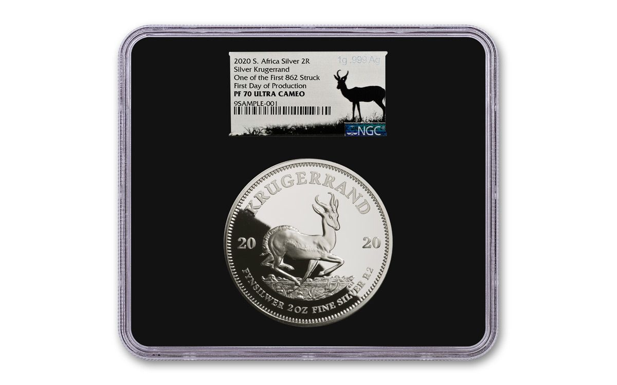 KRUGERRAND 2020 2 oz 2 Rand Pure Silver Proof Coin South Africa IN STOCK SEALED