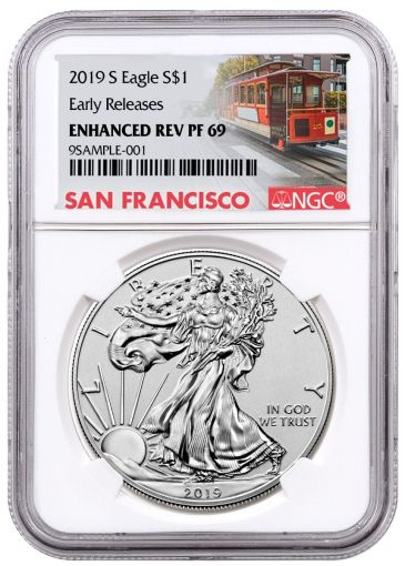 2019-S $1 1-oz Silver Eagle Enhanced Reverse Proof NGC PF69 Early Releases w/ Cable Car Label