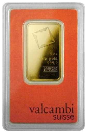 Valcambi Suisse 1-oz Gold Bar in Orange Card Assay