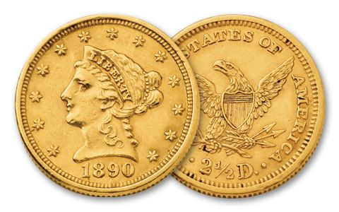 1840-1907 2 and a Half Dollar Gold Liberty XF