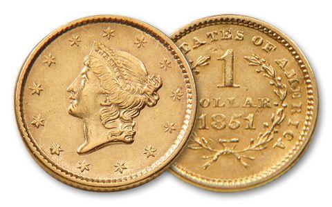1849 1854 1 Dollar Gold Liberty Type I Bu