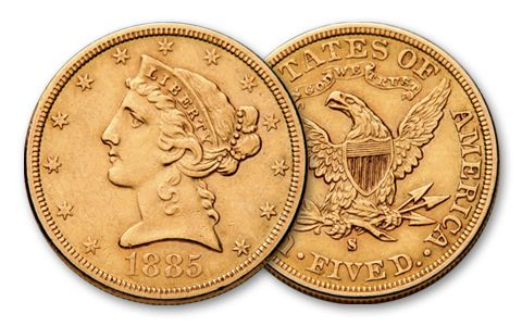 1880-1907-S 5 Dollar Gold Liberty XF