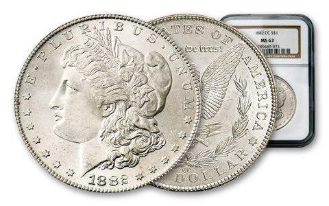 1882-1884-CC Morgan Silver Dollar NGC PCGS MS63