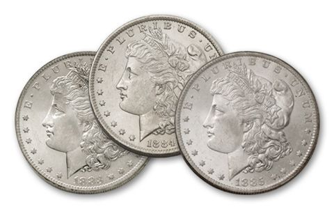 1883-1885-O Morgan Silver Dollar BU 3pc Set
