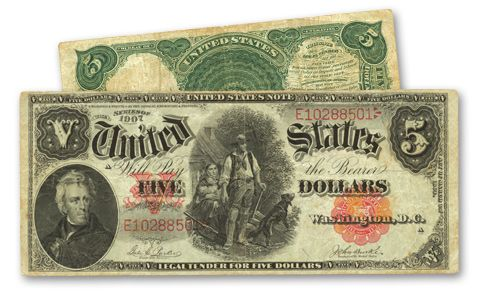 1907 5 Dollar Legal Tender Woodchopper Note