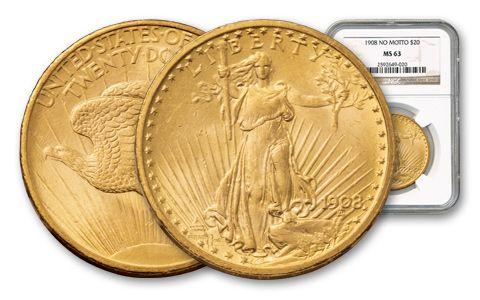 1908 20 Dollar Saint Gaudens No Motto NGC PCGS MS63
