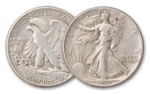 1916-1947 Half Dollar Walking Liberty XF Roll 20 Pieces