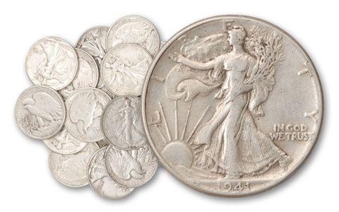 1916-1947 Half Dollar Walking Liberty 10 Pieces