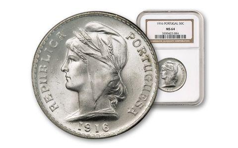 1916 Portugal 50 Centavo Silver NGC MS64