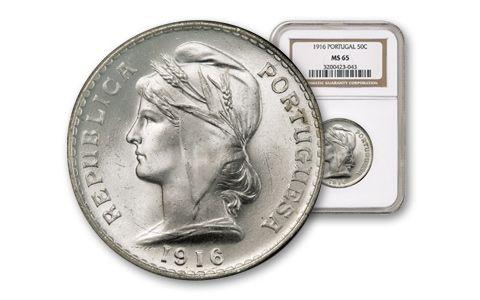 1916 Portugal 50 Centavo Silver NGC MS65