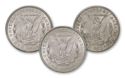 1921-PDS Morgan Silver Dollar BU 3pc