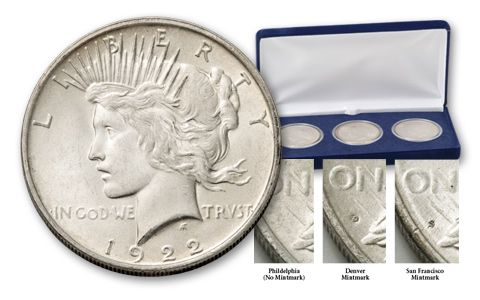1922-PDS Peace Dollar Brilliant Uncirculated Set 3 Pieces