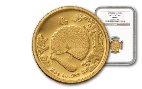 1993 China 1/10-oz Gold Peacock NGC MS69