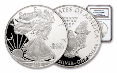 2008-W 1 Dollar 1-oz Silver Eagle NGC/PCGS PF69