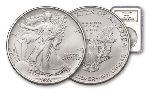 1986 1 Dollar 1-oz Silver Eagle NGC MS69
