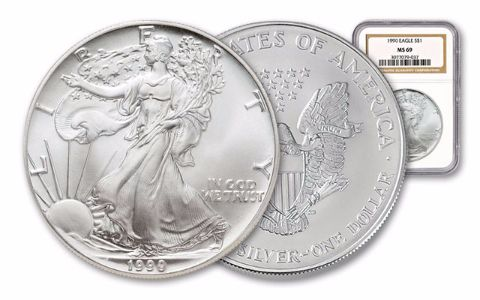 1990 1 Dollar 1-oz Silver Eagle NGC/PCGS MS69