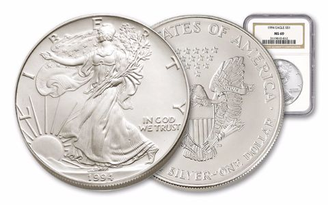 1994 1 Dollar 1-oz Silver Eagle NGC/PCGS MS69