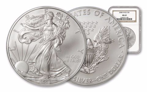 2008 1 Dollar 1-oz Silver Eagle NGC/PCGS MS69
