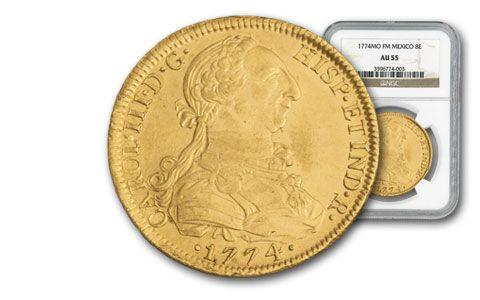 1774 Mexico Gold 8 Escudo NGC AU55