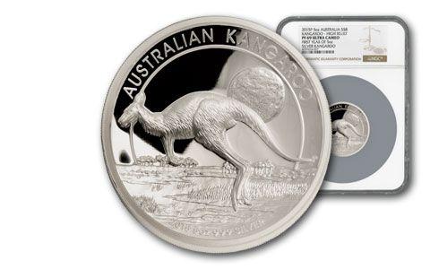 2015 Australia 5-oz Silver Kangaroo High Relief NGC PF70UCAM