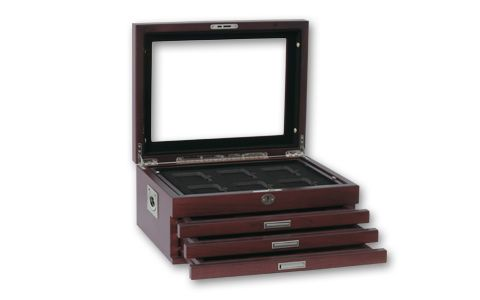 Box Wood Glass Top 24 Slab Universal Multi Tray