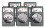 2010 5-oz Silver America the Beautiful Quarter 5-Piece Set PCGS MS69 DMPL First Strike - Mercanti Signed Label